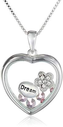 Glass Heart Sterling Silver Crystal 'Dream' Looking Sentiment Necklace
