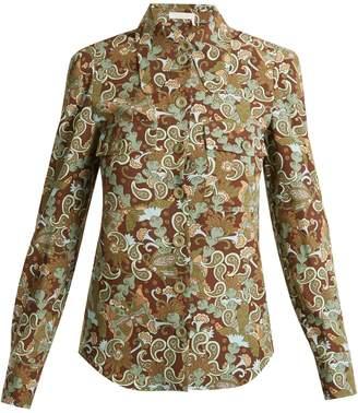 Chloé Butterfly Garden Party-print crepe blouse