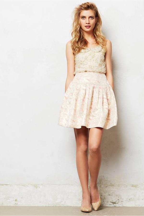 Anthropologie Sugarplum Brocade Skirt