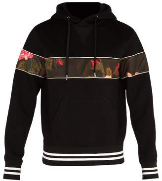 Alexander McQueen Floral Panel Hooded Neoprene Sweatshirt - Mens - Black Multi