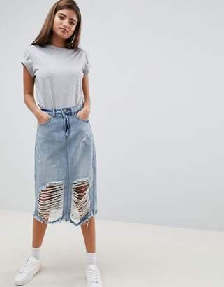 Noisy May Destroyed Denim Midi Skirt