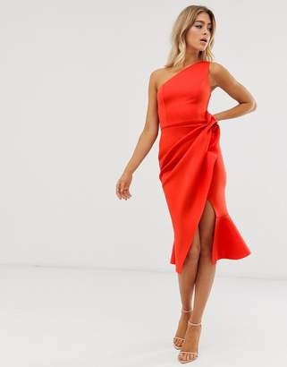 ffa41a06514b Asos Design DESIGN one shoulder tuck detail midi dress