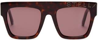 Stella McCartney Flat Top Logo Embellished Acetate Sunglasses - Womens - Tortoiseshell