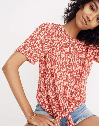 Madewell Crinkled Button-Back Tie Tee in Full Bloom