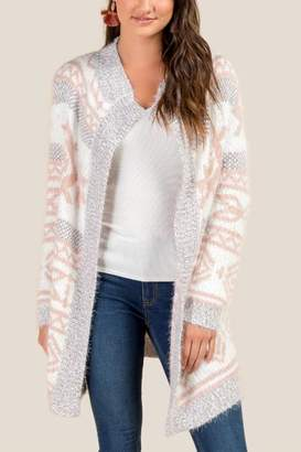 francesca's Selby Geometric Pattern Cozy Cardigan - Blush