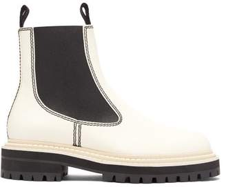 Proenza Schouler Tread Sole Leather Ankle Boots - Womens - White Black
