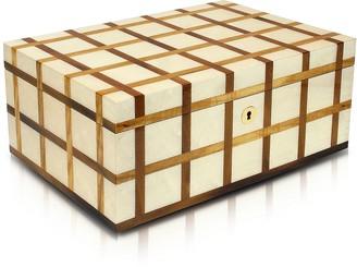 Forzieri White Inlaid Wood 10 Piece Watch Box
