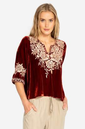 Johnny Was Olenna Velvet 3/4 Sleeve Flutter Top