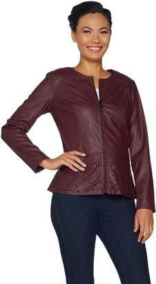 Belle By Kim Gravel Belle by Kim Gravel Perforated Faux Leather Zip Front Jacket
