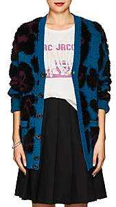 Marc Jacobs Women's Leopard Wool-Blend Cardigan-Teal