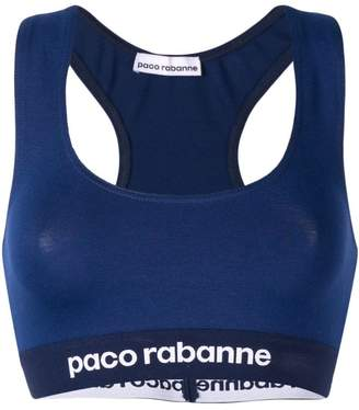 Paco Rabanne elasticated logo sports bra