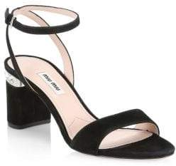 Miu Miu Suede Ankle-Strap Jewel-Heel Sandals