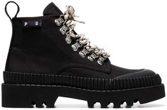 Proenza Schouler black lug sole canvas boots