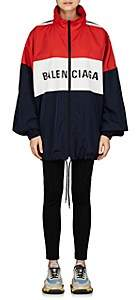 Balenciaga Women's Logo-Print Tech-Taffeta Windbreaker-Navy