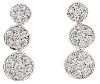 Bony Levy 18K White Gold Three Station Circle Pave Earrings - 0.28 ctw