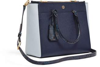 Tory Burch ROBINSON MIXED-MATERIALS DOUBLE-ZIP TOTE