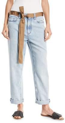 Brunello Cucinelli Mid-Rise Bleached Denim Jeans with Ribbon Belt