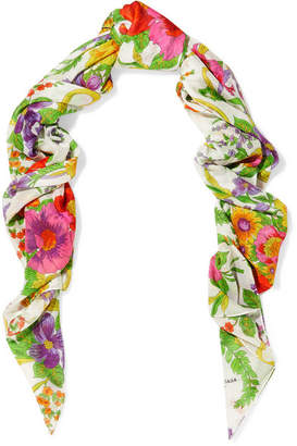 Balenciaga - Grand Floral-print Modal And Silk-blend Scarf - White $375 thestylecure.com