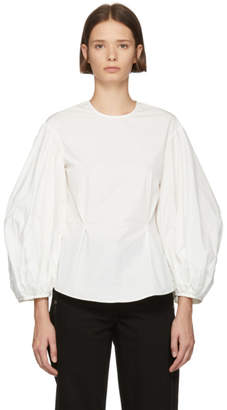 Edit White Balloon Sleeve Blouse