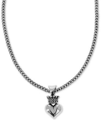 "King Baby Studio Women Crown & Heart 18"" Pendant Necklace in Sterling Silver"