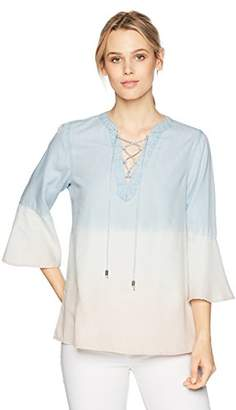 Nine West Women's Bell Lace Up Peasant Top