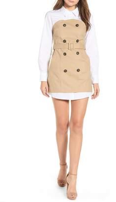 ENGLISH FACTORY Trench Style Cotton Poplin & Twill Dress