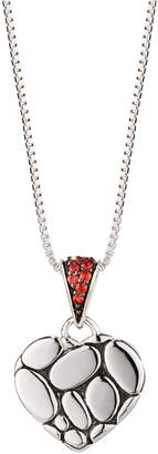 John Hardy Kali Lava Heart Pendant Necklace w/ Red Sapphires