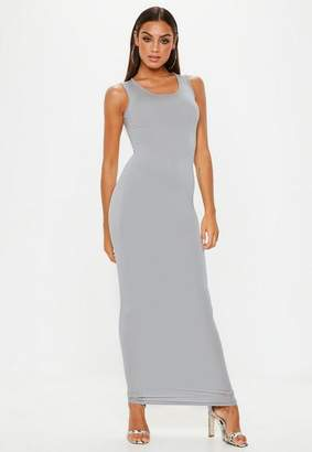 Missguided Grey Square Neck Maxi Dress
