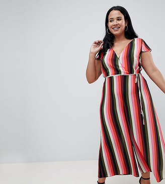 1c4348b1f5da Asos DESIGN Curve caped sleeve jumpsuit with wrap front in multi stripe  print