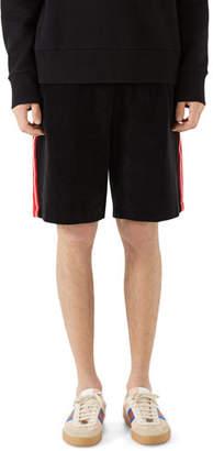 Gucci Side-Stripe Velour Track Shorts