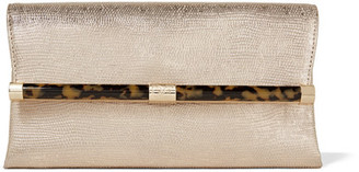 Diane von Furstenberg - 440 Envelope Metallic Lizard-effect Leather Clutch - Gold $250 thestylecure.com