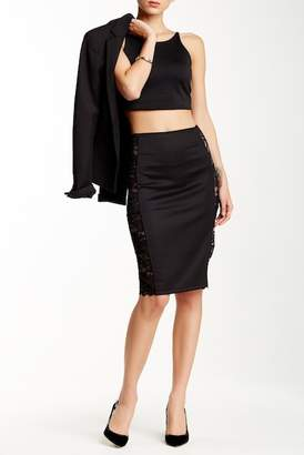 Blvd Lace Trimmed Pencil Skirt