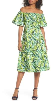 CLOVER AND SLOANE Palm Print Off the Shoulder Dress