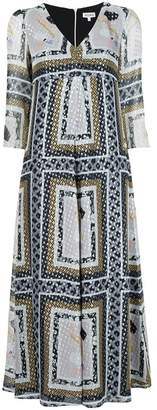 Suno metallic printed V-neck dress