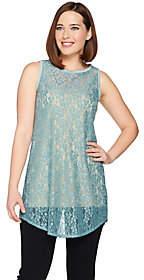 LOGO by Lori Goldstein LOGO Layers by Lori Goldstein Long Lace Tank w/Shirttail Hem