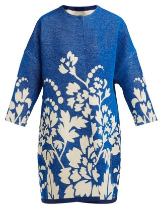 Märit Ilison - Reversible Floral Intarsia Cotton Coat - Womens - Blue Multi
