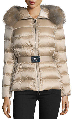 Moncler Moncler Tatie Hooded Fur-Trim Puffer Jacket