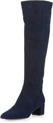 Gianvito Rossi Low-Heel Suede Knee Boot