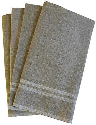 One Kings Lane Vintage French White Stripe Linen Napkins - Set of 4