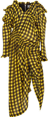 Milo Off-the-shoulder Checked Hammered-silk Maxi Dress - Yellow