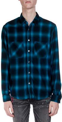 Amiri Men's Neon Highlight Plaid Flannel Shirt