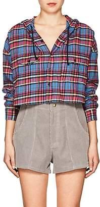 ADAPTATION Women's Plaid Flannel Crop Hoodie
