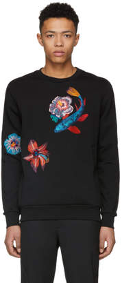 Paul Smith Black Embroidered Flower Sweatshirt
