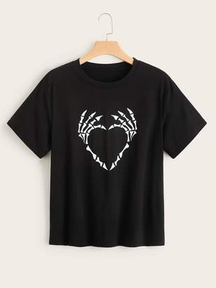 Shein Plus Skeleton Hand Print Tee