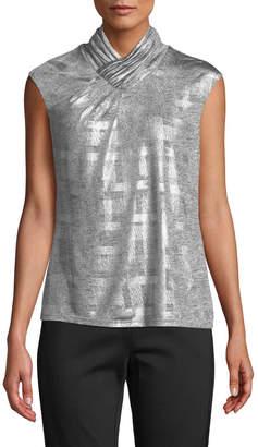 Iconic American Designer Sleeveless High-Neck Metallic Plaid Top