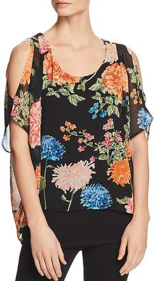 Avec Cold-Shoulder Floral Overlay Top