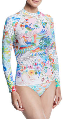 Johnny Was Parker Floral-Print Long-Sleeve Rashguard