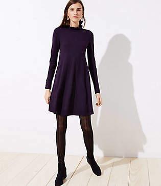 0ad5fc1936c5 LOFT Ruffle Mock Neck Sweater Dress