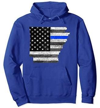 Police Thin Blue Line Arkansas USA Flag Map Hoodie