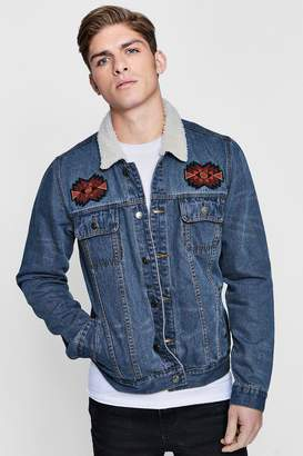 boohoo Borg Collar Embroidered Denim Jacket
